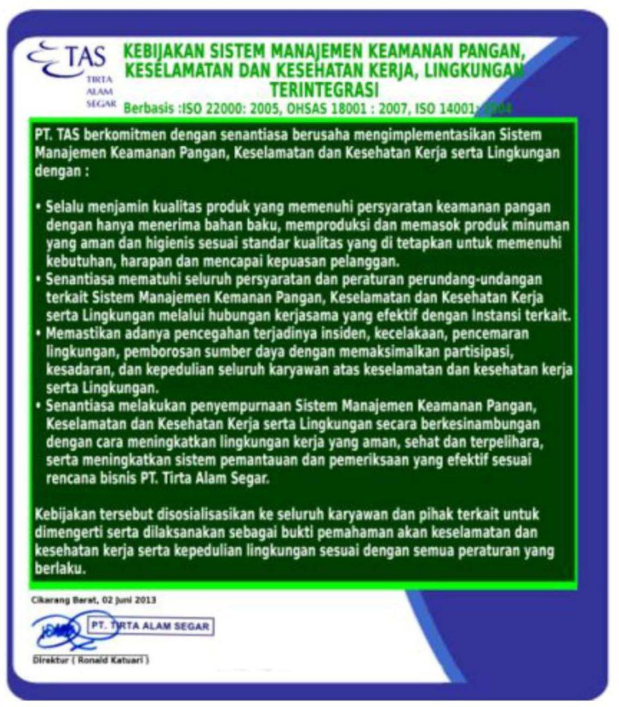 PT TAS mengaku telah melaksanakan SMK3