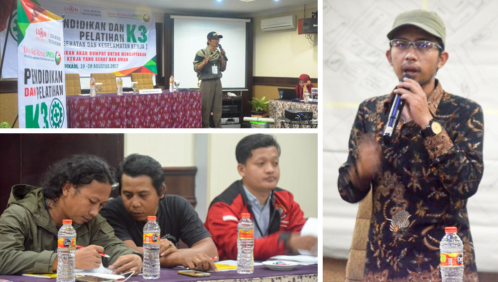 "Bung Rian Irawan (kanan) dari Local Initiative sedang memberikan Presentasi ""Pengenalan K3 Dasar"""